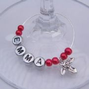 Holly Personalised Wine Glass Charm